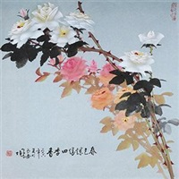春色烂漫四季香 镜片 设色纸本 by luo guoshi