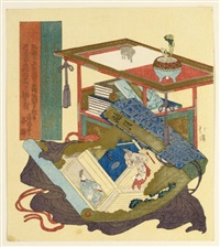 surimono - still life with a fuguruma in the foreground a half-open makimono (shikishiban) by hokkei