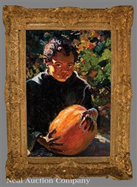 african-american boy with a pumpkin by william de leftwich dodge