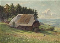 a farm in an alpine landscape by wilhelm g. hasemann