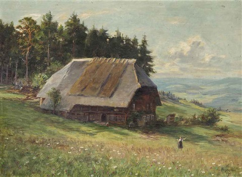 a farm in an alpine landscape by wilhelm g hasemann