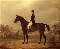 portrait of a gentleman on a favourite bay hunter with   huntsmen and a hound beyond by john barwick