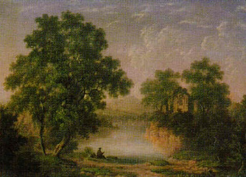 a capriccio landscape with ruins by a lake by charlotte nasmyth