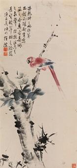 枝上小鸟 立轴 设色纸本 by wang rong