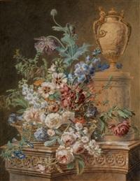 grosser sommerblumenstrauss in einem korb vor klassizistischer vase by gérard van spaendonck