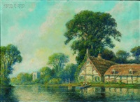 cottage on the river bank by frederick leo hunter