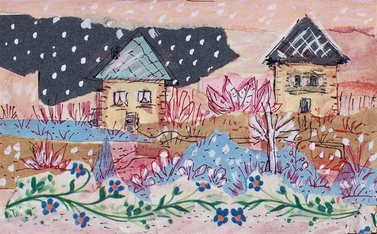 zwei häuser mit dunkler wolke by elisabeth ahnert