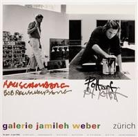 signiertes ausstellungsplakat rauschenberg und pottorf der galerie jamileh weber by robert rauschenberg