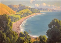 new zealand coastline by ernest william buckmaster
