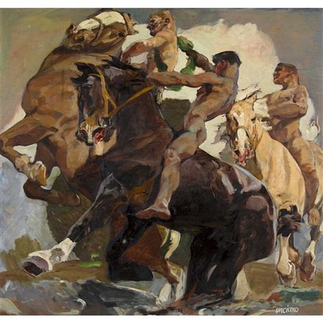 Pferd den nackt auf Nackt reiten