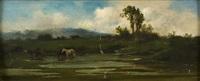 paesaggio palustre con cavalli by achille vertunni