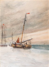 barges on the beach in winter by jacob willem gruyter