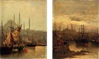 veduta di santa sofia a costantinopoli e veduta del porto di costantinopoli (2 works) by f. henry