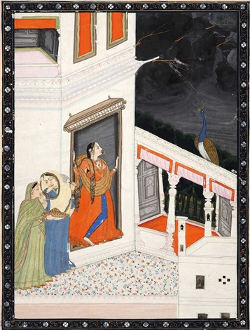eine dame wartet in der tür eines palastes auf ihren liebhaber während sich am himmel ein gewitter zusammenbraut by anonymous indian 19