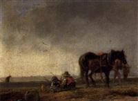 rastende bauern neben den pferden am feldrain by alois bach