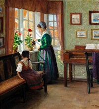 interior scene with mother watering flowers by a window and young daughter seated beside by valdemar holger v. rasmussen magaard