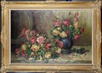 nature morte au vase bleu et aux roses by henri de fabre