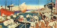 victory of the imperial navy in the sino-japanese war (triptych) by watanabe nobukazu