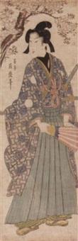 samurai mit schwert und fächer, unter blühenden kirschbaum stehend by tsukimaro