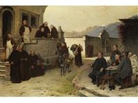 ankunft der bettelmönche im kloster by adolf humborg