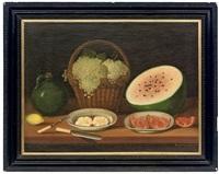a basket of grapes, a watermelon, a plate with eggs and a green jug on a wooden table by josé m. batum