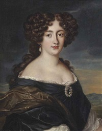 portrait of ortensia mancini (1646-1699), half-length, in a blue dress, wearing a diamond brooch in a pearl surround, in a landscape by jakob ferdinand voet