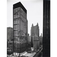 seagram building at night by ezra stoller