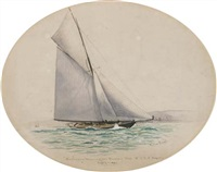 britannia winning the queen's cup, r.c.y.c. regatta, july 7th, 1894 by r. borlase smart