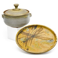 Large casserole and charger (2 works)