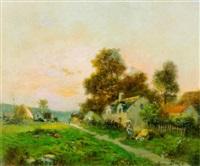 sommerliche landschaft mit bauernhöfen by georges dazy