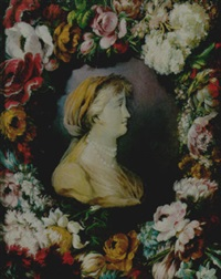 a bust of a lady surrounded by a garland of flowers by benito espinos