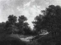 waldlandschaft mit einer schafherde by picot