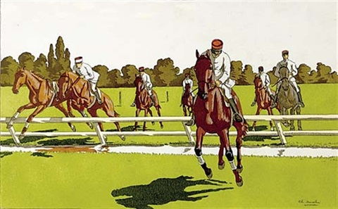horse racing scenes group of 5 by charles ancelin