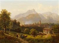 abendstimmung bei einem städtchen in den alpen (berchtesgaden?) by adalbert waagen