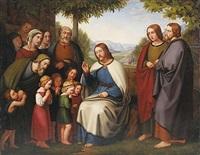 lasset die kindlein zu mir kommen. christus segnet die kinder by heinrich maria von hess