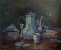 still life study of coffee pot, sugar bowl, liqueur decanter, etc. on a cloth by guillaume dulac