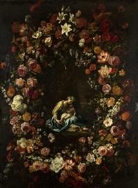 virgen con niño en guirnalda de flores by gaspar pieter verbrüggen the elder