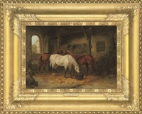 three horses in a stable by julius adam the elder