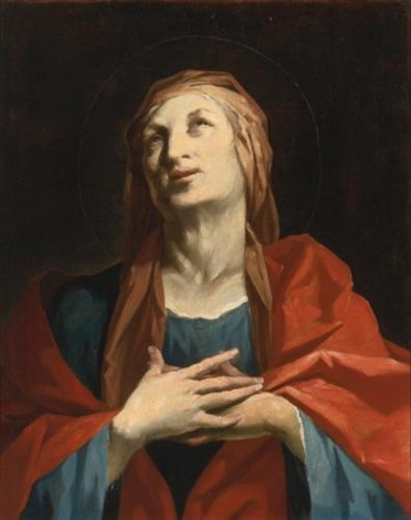 a female saint half length possibly saint anne or elizabeth by giuseppe antonio petrini