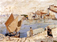 wharfside figures (+ figures in a street; 2 works) by rudolph negely