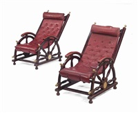 a pair of brass-mounted and red-leather deck-chairs by anonymous (20)