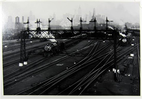 hoboken railroad yards looking towards manhattan by berenice abbott
