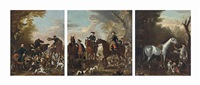 viscount weymouth's hunt: the death of the fox; coming at the death; and returning from the chase (3 works) by john wootton