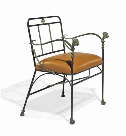 fauteuil aux têtes de lionnes seconde version pieds antérieurs en griffes de lions by diego giacometti