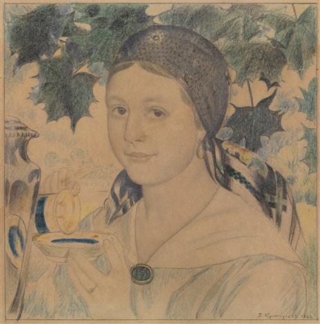 girl with a cup portrait of maria shostakovich by boris mikhailovich kustodiev
