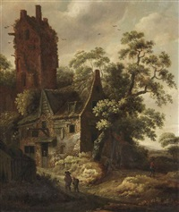 figures travelling on a path near a cottage, a ruined tower beyond by roelof van vries
