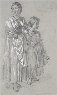italienerin mit einem krug tragenden mädchen an der hand by august von heckel