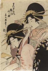 brustbild zweier kurtisanen, die hintere mit einem zahnstocher by tsukimaro