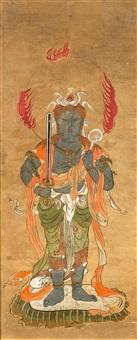 rasetsu-ten, einer der der zwölf schutzgottheiten (jûniten) der himmelsrichtungen ist als wehrhafter wächter mit schwert, rüstung und tierfellen abgebildet (+ another; 2 works) by anonymous-japanese (edo period)