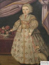 bildnis eines jungen mädchens mit hund als ganzfigur. mit ihrer rechten hand greift sie in ein blumenbouquet by anonymous-dutch (17)